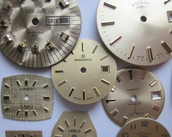 10 Vintage Watch Faces, 'Sunny D' Mix, Metallic Gold, Mixed Lot Shapes and Sizes