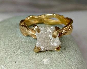 Raw diamond Ring, 3 Carat Rough Diamond Engagement Ring, solid gold and diamond branch ring, diamond twig ring