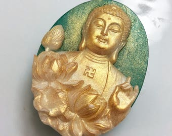 Buddha Soap, Vegan Soap, Asian Decor, Chakra Soap, Handmade Vegan Soap, Lotus Buddha, Bar Soap, Spiritual Soap, Gift for Buddhist