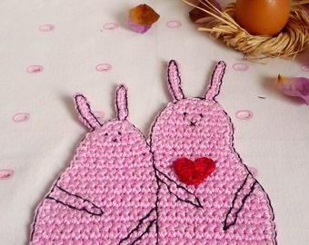Crochet Rabbit Coaster - Bunny Coaster - Pink Rabbit - Animal Coaster - Wedding Gift - Valentine's Gift - Gift for Girlfriend - Gift for Her