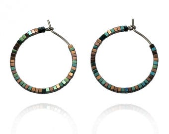 Spark - Pure titanium hoop earrings with green and copper hematite beads -  hypoallergenic earrings for sensitive ears