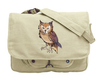 Painted Owl Embroidered Canvas Messenger Bag