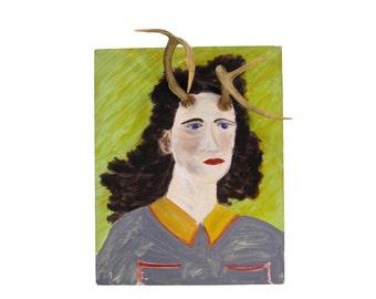 Deer Alice, You Have Antlers - Vintage Altered Art - Portrait Painting - Original Oil Painting - Antlers