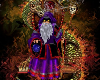 evil wizard, dragon artwork, dragon, wizards, fantasy art,  this is an 16x20 unframed limited edition