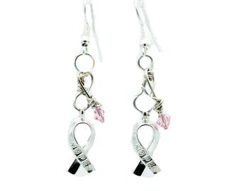 Earrings For Cancer Awareness With Ribbon and a Pink Swarovski Crystal