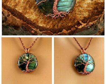 Labradorite Tree of Life Pendant Raw Copper Wire Wrapped Blue Labradorite Cabochon with Chain