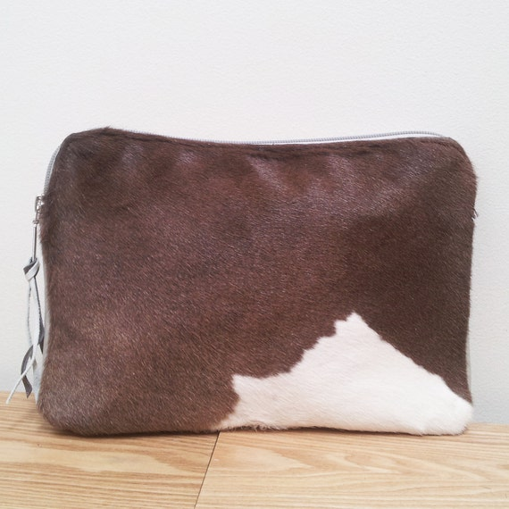 """Leather Ipad case, ipad sleeve, cowhide clutch or tablet/ Ipad Case - Brown and White Leather 12"""", Ipad tablet accessories, clutch, wallet"""