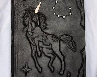 Large leatherbound blank handmade journal Unicorn