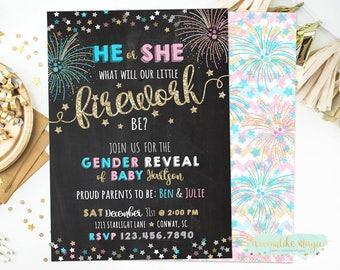 New Year's Gender Reveal Invite, Fourth of July, Firework Gender Reveal, Firecracker, Summer Gender Reveal, Fireworks, Reveal Invitation
