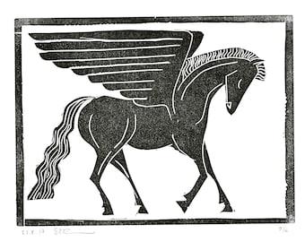 """Winged Horse Linocut 6x8"""" (Unframed)"""