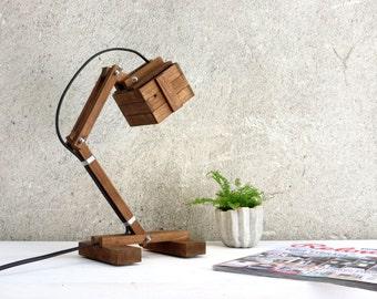Adjustable Lamp, Wooden Lamp, Desk Lamp, Industrial Lighting, Rustic Decor, Wooden Light, Original Gift, Industrial Decor,