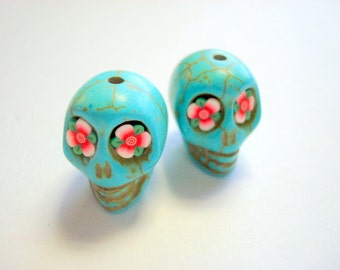 Turquoise Howlite 18mm Sugar Skull Beads with Red Flower Eyes