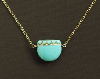Turquoise Blue Boho Glass Bead Necklace - 14K Gold Filled Chain