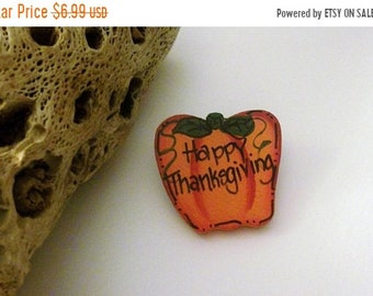 ON SALE Vintage Hand Painted Wooden Thanksgiving Pin 42818