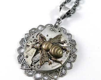 Steampunk Necklace, Clockwork Honey Bee Watch Movement in Silver Lace, Steampunk Jewelry by compassrosedesign