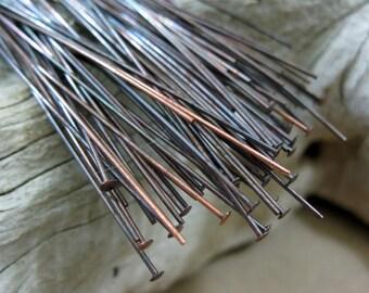 50 COPPER HEADPINS Oxidized 22 gauge,  3 inch length
