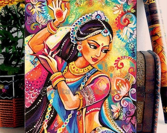 Bollywood dance Art Ethnic Woman Dancing Indian Classical Dancer Indian woman painting home decor wall decor woman art, ACEO woodblock, ABDG