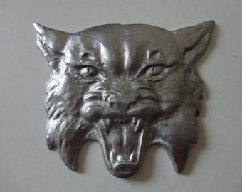 VINTAGE metal CAT face - ferocious cat face - angry cat face - scary cat face - feline kitty cat decor