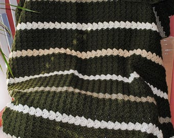 hunter green with brown stripes crochet afghan/blanket/throw/bedroom/home decor/wedding gift/graduation gift
