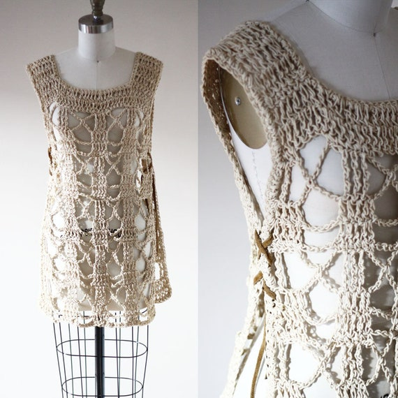 1970s crochet tunic // 1970s go go dress // vintage dress