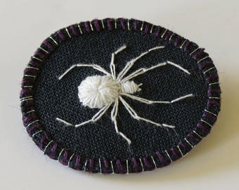 Embroidered Lucky White Spider Brooch Hand Embroidered Natural History Wildlife Textile Art for Arachnophile