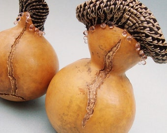 Gourd Art Couple, Coiled Horsehair Gourds, OOAK, Unique and Unusual, Beaded Gourds, Whimsical Home Decor