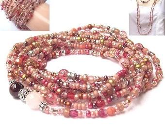 Garnet Rose Quartz Wrap Necklace, beaded wrap, wrap bracelet, gemstone, long, beaded necklace, boho, bridal bohemian jewelry, seed beads