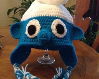 Smurf crochet hat, kids, adults hat, papa smurf, smurfette, blue hat