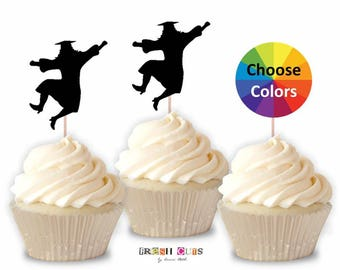 Jumping Graduation Girl Cupcake Topper Confetti Straw Toppers Party Decoration DIY Party Supply 2018 Set Of 15 You Pick School Colors