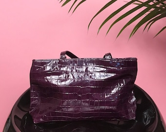 Purple patent alligator bag