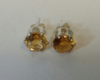 Faceted Citrine Post Earrings set in Sterling Silver