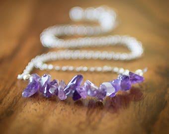 Necklace, Amethyst necklace, birthstone necklace, sterling silver necklace, handmade, handmade necklace