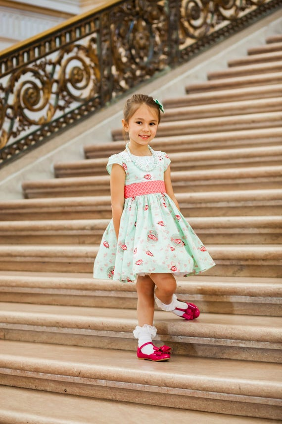 Girls Floral Aqua Dress - Aqua Easter Dress - Tea Time Dress - Vintage Style Party Dress - Lace Collar Dress - Coral and Aqua Dress
