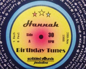 Personalised Vinyl Record Music Print for unique birthday gift