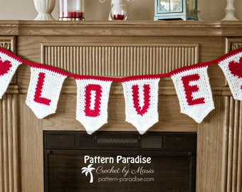 Crochet Pattern LOVE Banner, Bunting, Wall Hanging, Valentine's Day, Bridal Shower, Decoration, Wallhanging