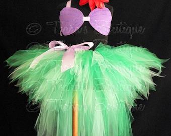 "Ariel Tutu Little Mermaid Costume, Green Mermaid Tutu, Seashell Top, Tutu with Tail, Sewn 11"" Pixie Tutu w/ 20"" Tutu Bustle, sizes up to 5T"