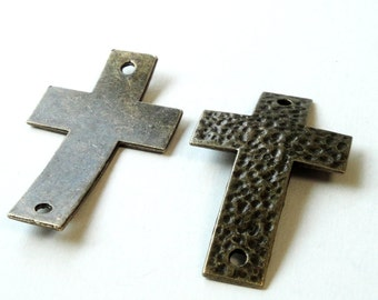 Cross Bracelet Connector Focal - Hammered Cross Curver - Sideways Link -  2 Holed - 4 Pcs - Select Color - DIY Easter Jewelry - Bulk Options