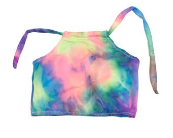 Tye Dye Halter Bikini Top Neon Print Swimwear Colorful Yoga Tops Boho Festival Wear Summer Crop Tops