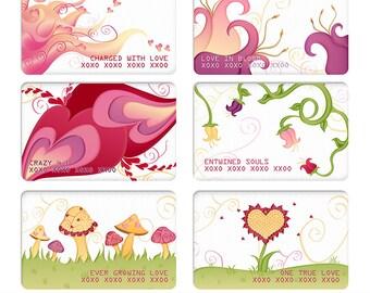Valentine Digital Clipart Stickers - Valentine Love Card Clipart Stickers - Hearts Digital Sticker PNGs - Instant Download