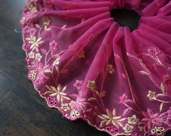 1.48 m x 14 cm lace embroidered tulle Ref 2409