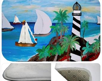 Lighthouse Beach bathmat from my art