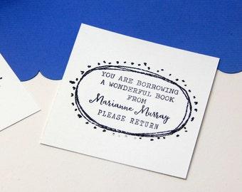 Custom Slightly Dotty Bookplate Olive Wood Stamp
