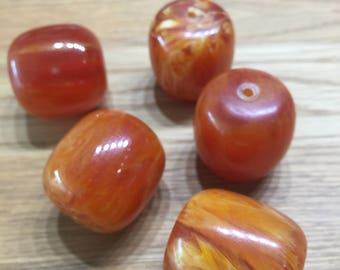Large bulbous pearl ' pumpkin '-orange-resin/resin-24mm