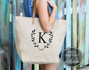 FREE SHIPPING Set of Monogrammed Bridesmaid Bags, Bridesmaids Totes, Tote Bags for Bridesmaids, Bridesmaids Gifts on a Budget