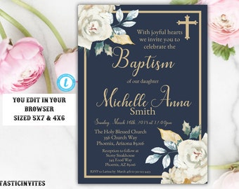 Navy Blue Gold Ivory Rose Baptism Invitation Template, Baptism Invitation, Baptism Template, Blue and Gold Baptism,Instant Download, Baptism