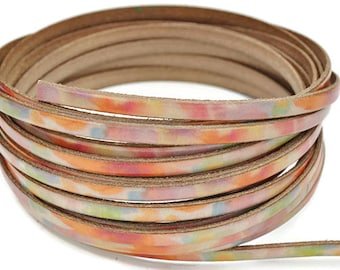"""5MM Flat Watercolors  - 1M/39.4""""  -  Best Quality European Leather Cord"""