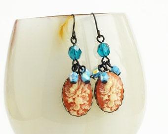 Victorian Floral Earrings Vintage Flower Cameo Dangles Victorian Earrings Blue Teal Peach Earrings Victorian Jewelry Blue Peach Floral