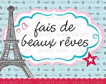 "Printable Girl in Paris Sweet Dreams Birthday Girl Doll 10""x8"" Print INSTANT DOWNLOAD"