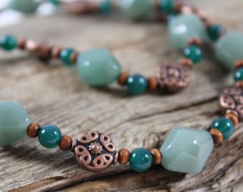 Aventurine Copper Wood Necklace / Chunky Necklace / Gemstone / Green / Gifts for Women / Gifts for Her / Chunky Jewelry / Boho / Unique