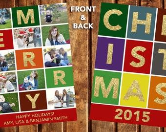 Christmas Card, Photo Christmas Card, Photo Holiday Card, Double Sided Christmas Card, Printable Christmas Card, Merry Christmas Card